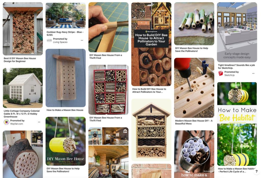 Pintrest pins on Mason bee homes DIY